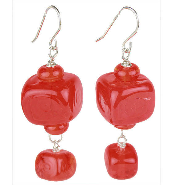 Cube earrings - cherry red