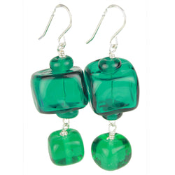 Cube earrings in sterling sterling silver and hand crafted teal glass beads