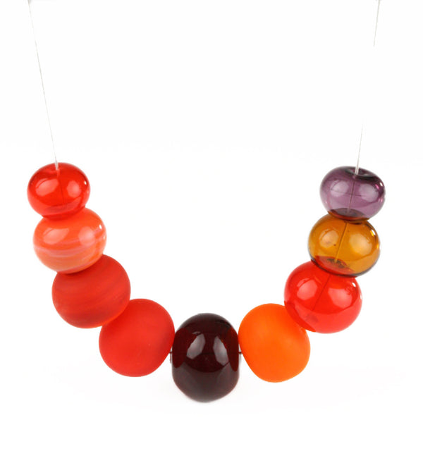 Bubble necklace - mixed shades of red and orange
