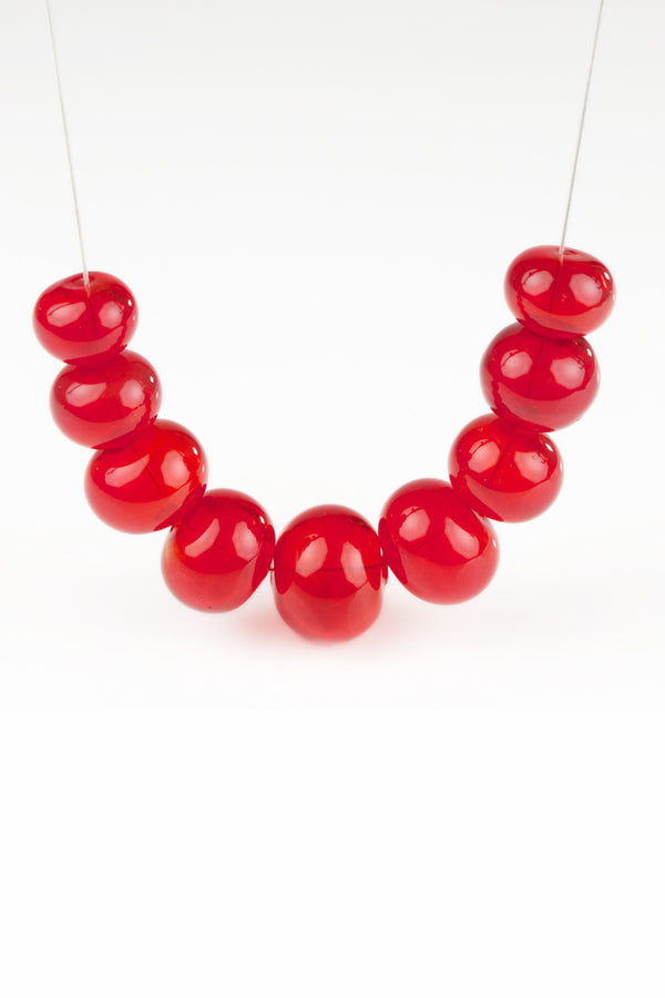 Bubble necklace -bright red