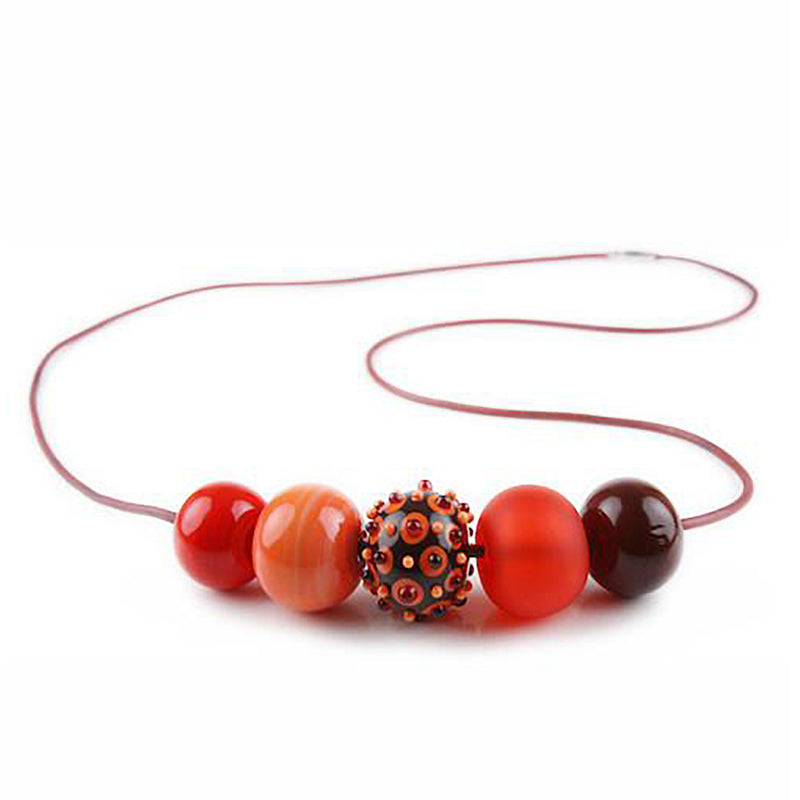 5 bubble bead necklace - reds with focal bead