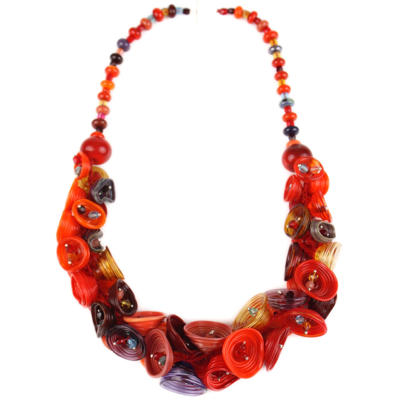 Demi pod necklace - mixed shades of red