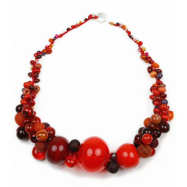 Cluster necklace - mixed shades of red
