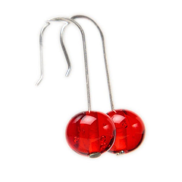 Bubble bead earrings - cherry red