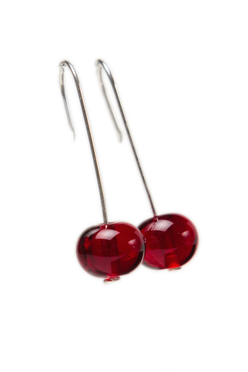 Bubble bead earrings - deep red -wholesale