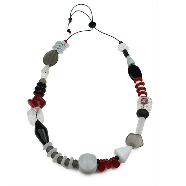 Frolic necklace - black, white and red