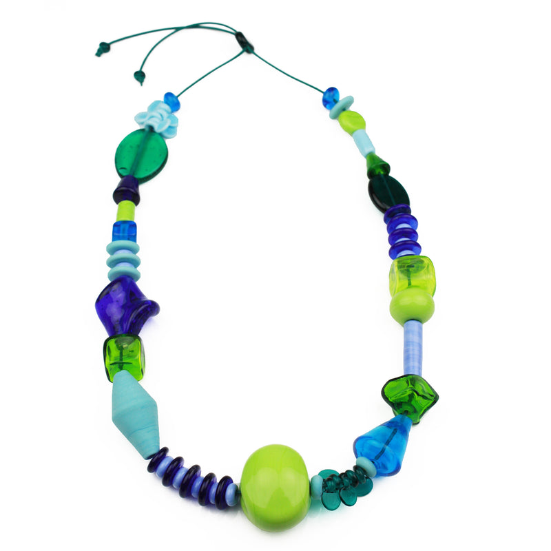 Frolic necklace - blues and greens