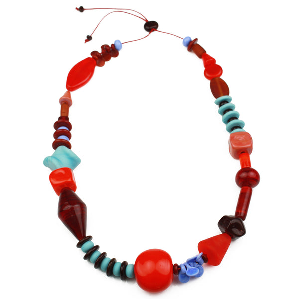 Frolic necklace - red, orange and blue