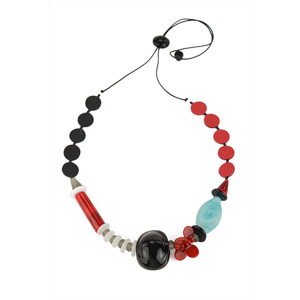 Frolic 2 necklace in black, white, red and turquoise
