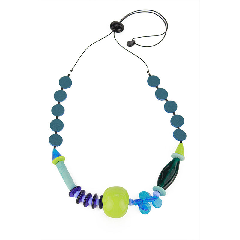Frolic 2 necklace in blue and greens