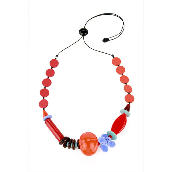 Frolic 2 necklace in reds, oranges and blues