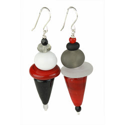 Frolic earrings - black, white and red