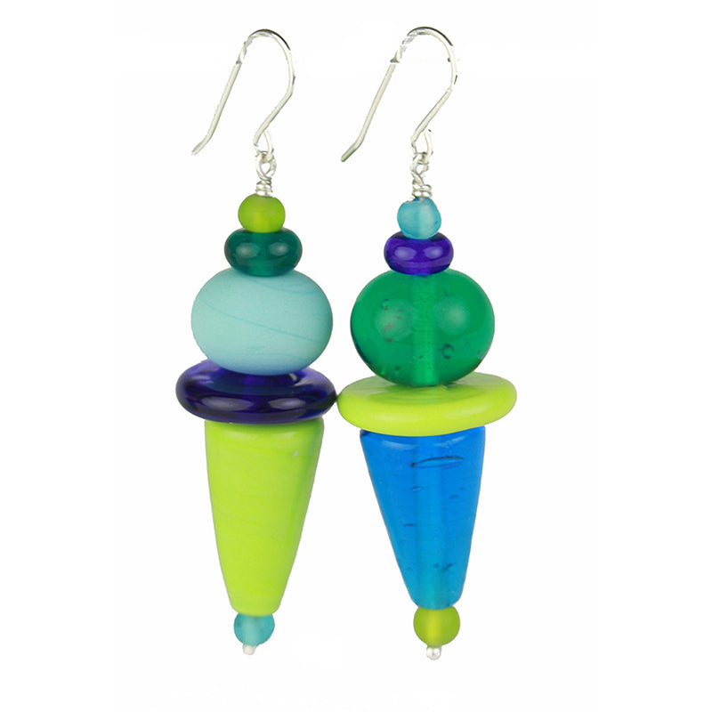 Frolic earrings - blues and greens