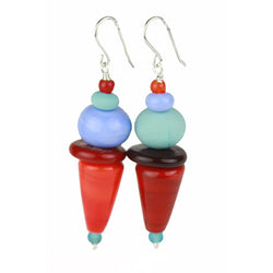 Frolic earrings - red, orange and blue