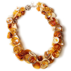 Pod necklace - amber, ivory and gold