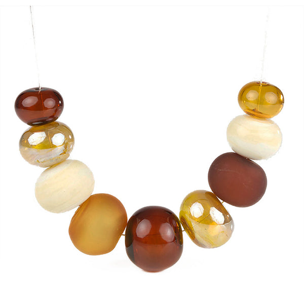 Bubble necklace - amber, ivory and gold