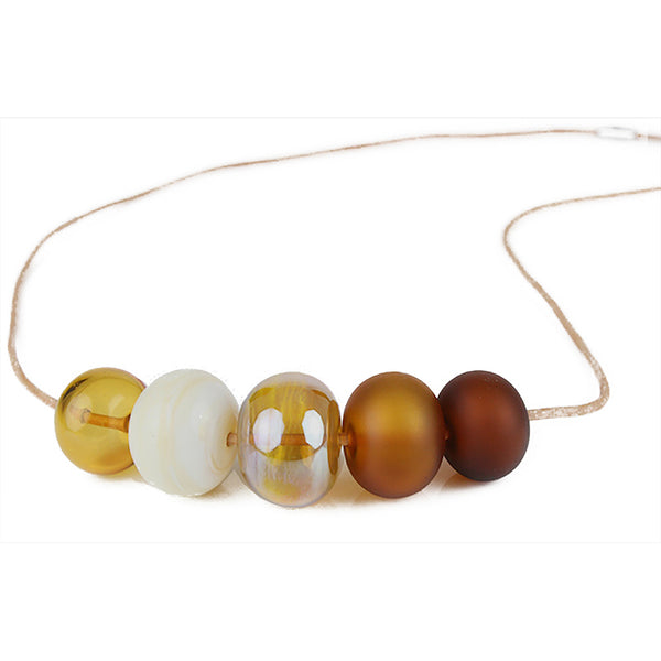 5 Bubble bead necklace - amber, ivory and gold