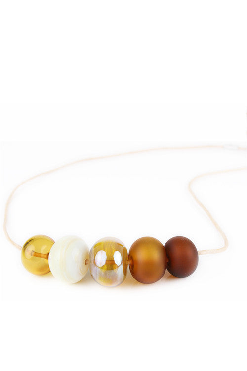 5 Bubble bead necklace - amber, ivory and gold -wholesale