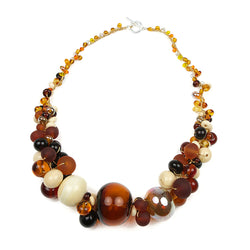 Cluster necklace - amber, ivory and gold