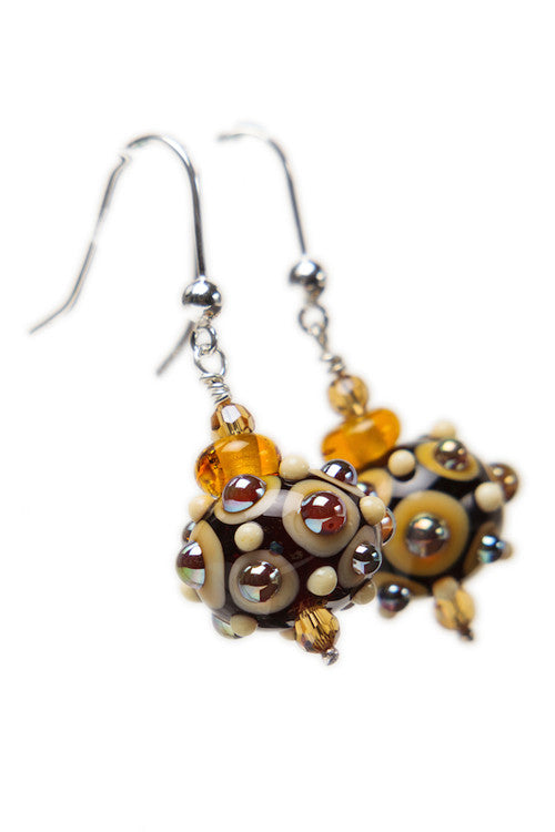 Dot earrings -Amber, ivory and gold
