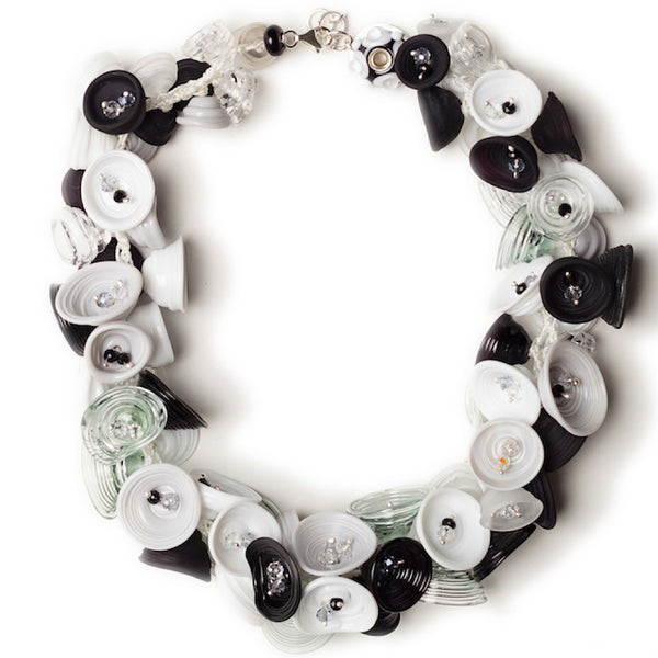 Pod necklace - black, white and gray