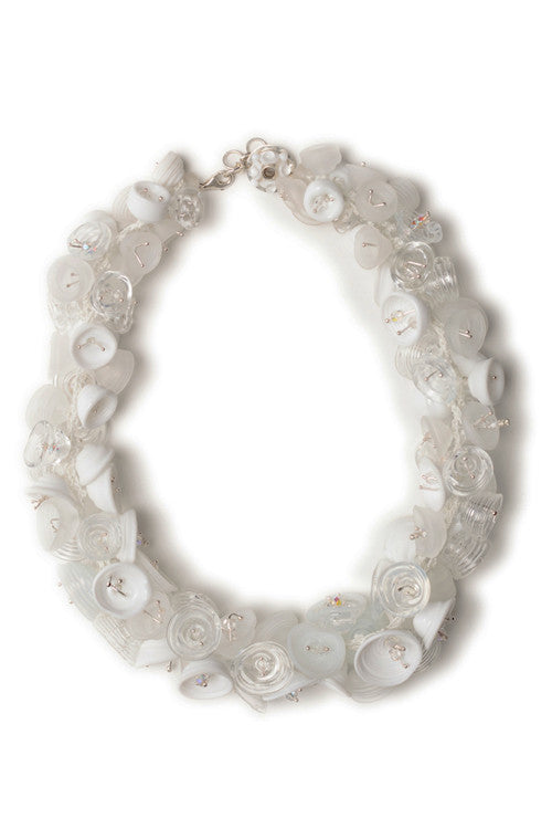 Pod necklace - white and clear