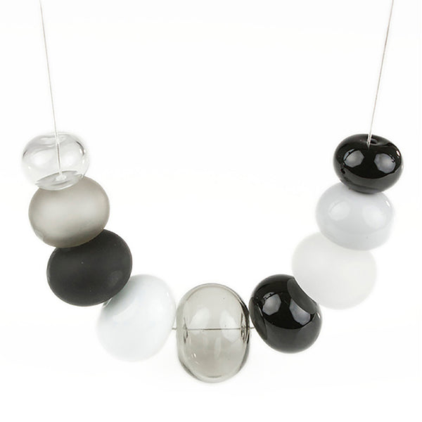 Bubble necklace - black, white and gray