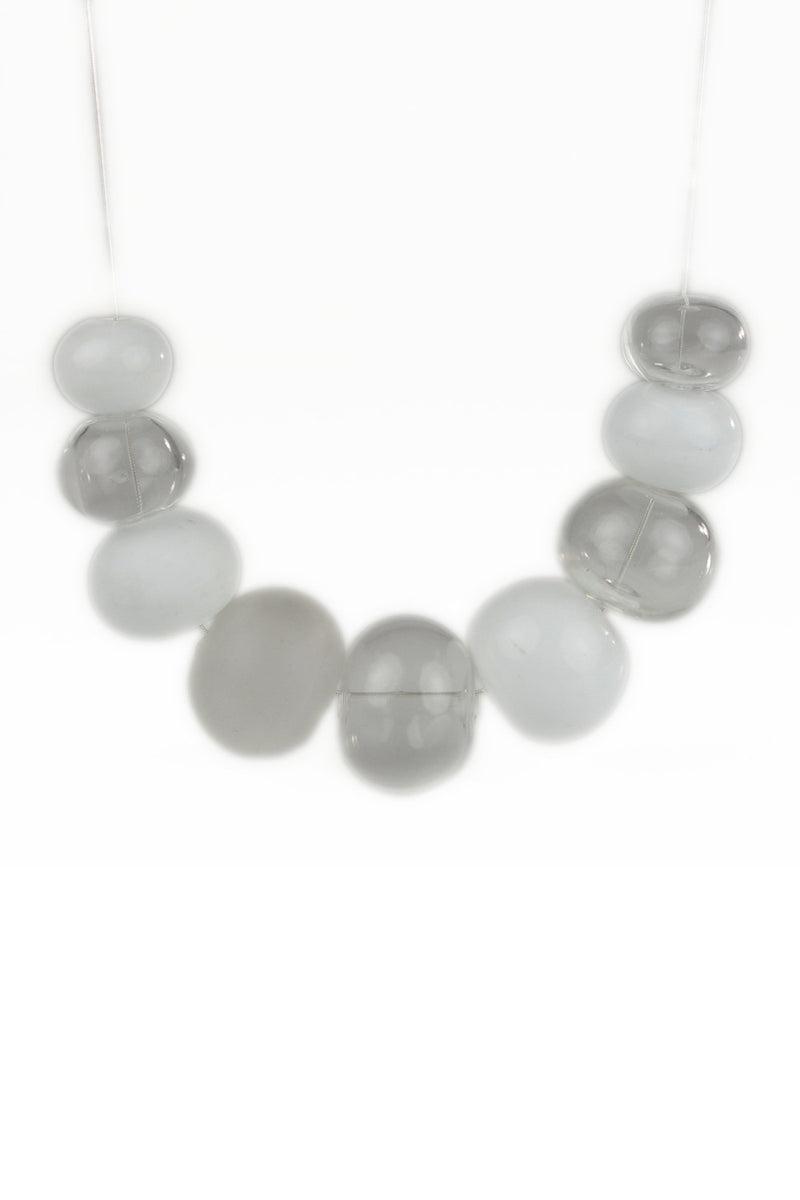 Bubble necklace - white and clear