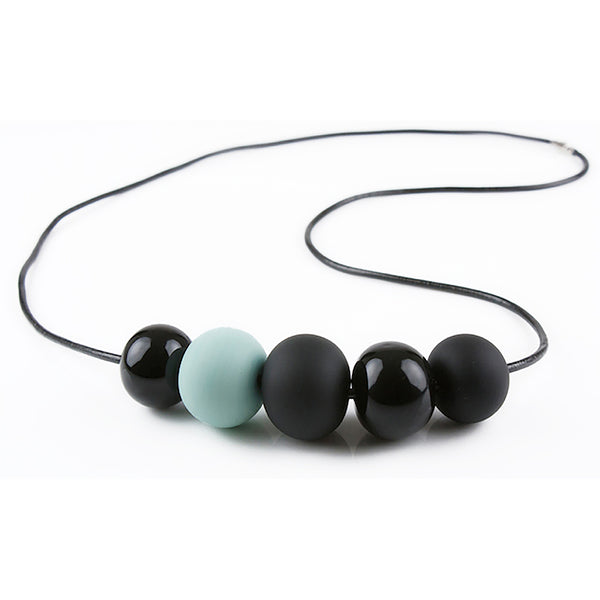 5 bubble bead necklace - black and turquoise