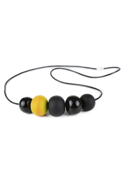 5 bubble bead necklace - black and yellow -wholesale