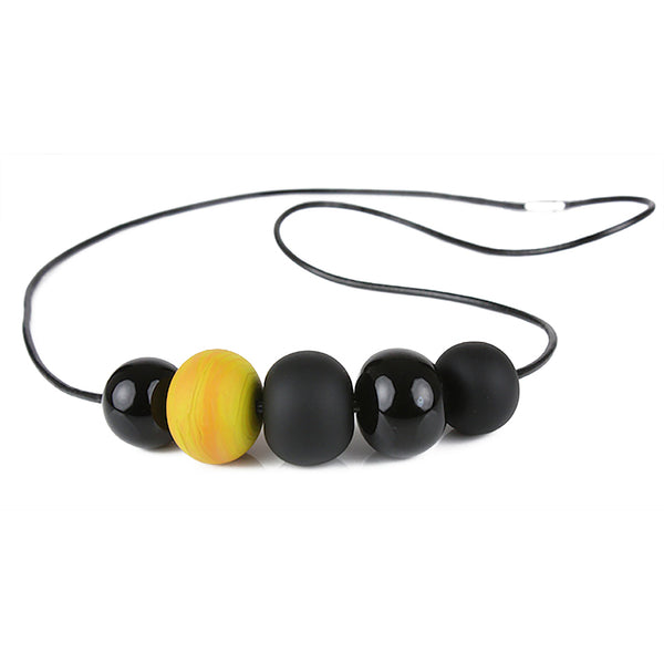 5 bubble bead necklace - black and yellow