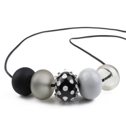 5 bubble bead necklace - black and white with focal bead