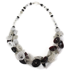 Demi pod necklace - black, white and gray