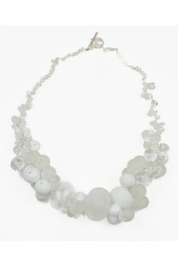 Cluster necklace - white and clear