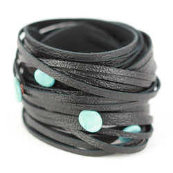 Morse code wrap bracelet in black with turquoise dots