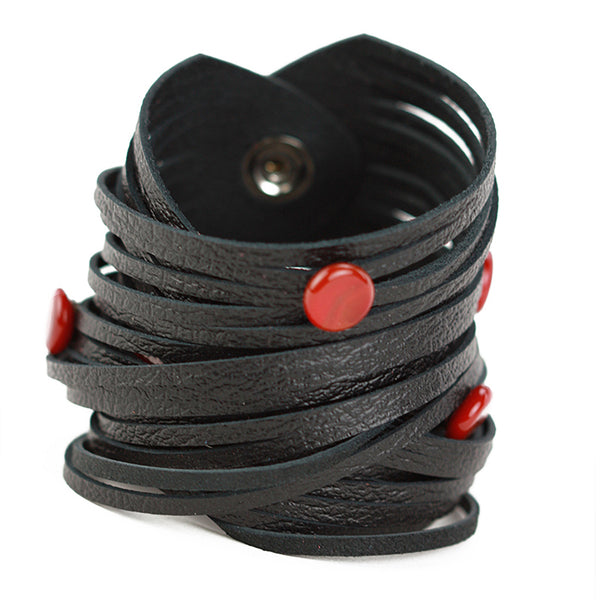 Morse code wrap bracelet in black with red dots
