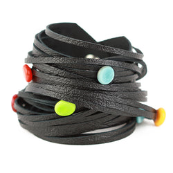 Morse code wrap bracelet in black with multi colour dots