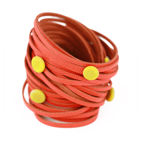 Morse code wrap bracelet in orange with yellow ochre dots