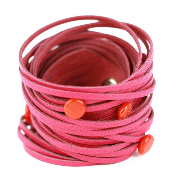 Morse code wrap bracelet in pink with orange dots