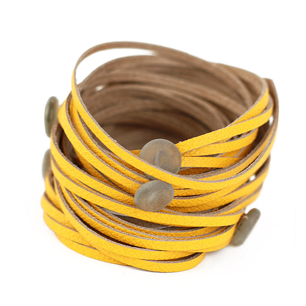 Morse code wrap bracelet in yellow with grey dots