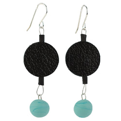 Morse code dot earrings in black and turquoise