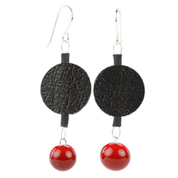 Morse code dot earrings in black and red