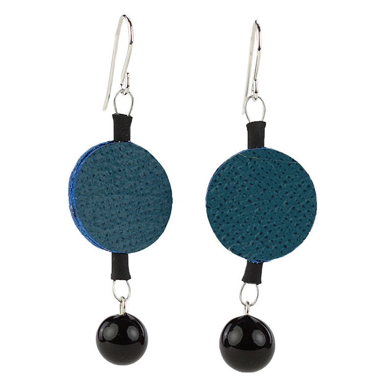 Morse code dot earrings in blue and black