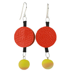 Morse code dot earrings in orange and yellow ochre