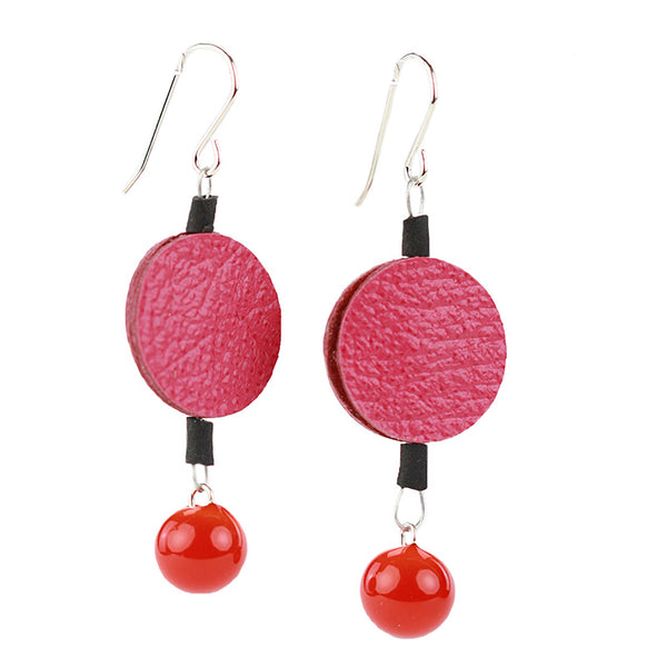 Morse code dot earrings in pink and orange