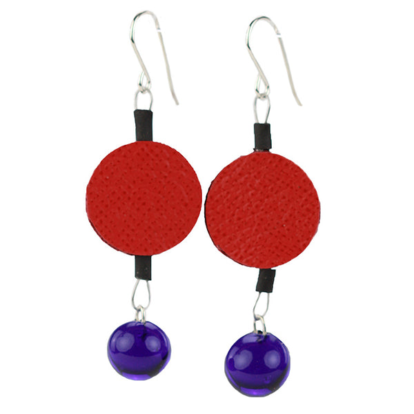 Morse code dot earrings in red and blue