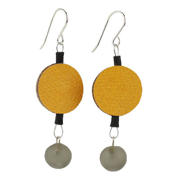 Morse code dot earrings in yellow and grey