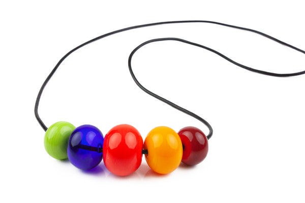 5 bead necklace - multi-colored -Wholesale
