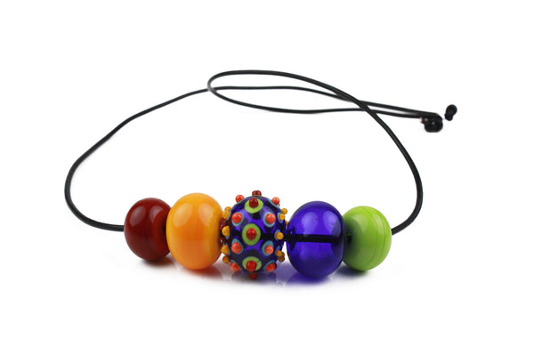 5 bubble bead necklace - multi-colored with focal bead -wholesale