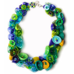 Pod necklace - blues and greens